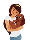 Pampered pet. Young woman hugging her dog Stock Image