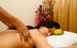 Pampered young woman with a massage Royalty Free Stock Image