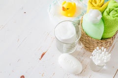Pampering accessorie on white wood background Stock Photo
