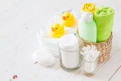 Pampering accessorie on white wood background Stock Photography