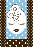 Pampering Girls night out invitation card. Invitation card with retro dots and a girl ready for makeup and hairstyle Stock Image