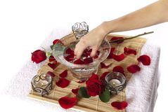 Pampering manicure hand soak spa Royalty Free Stock Photo