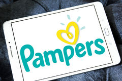 Pampers diapers manufacturer logo Stock Photo