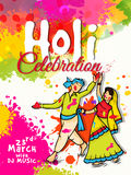 Pamphlet, Banner or Flyer for Happy Holi celebration. Royalty Free Stock Image