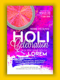Pamphlet, Banner or Flyer for Holi celebration. Stock Images