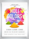 Pamphlet, Banner or Flyer for Holi celebration. Royalty Free Stock Photography