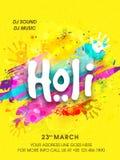 Pamphlet, Banner or Flyer for Holi Celebration. Stock Image