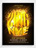 Pamphlet, Banner or Flyer for New Year celebration. Creative Pamphlet, Banner or Flyer design with golden disco ball for New Year Eve, 2016 celebration Royalty Free Illustration