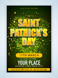 Pamphlet, Banner or Flyer for Patrick's Day Celebration. Royalty Free Stock Photos