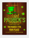 Pamphlet, Banner or Flyer for Patrick's Day concept. Royalty Free Stock Photography