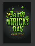 Pamphlet, Banner or Flyer for Patrick's Day Party. Royalty Free Stock Image