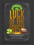 Pamphlet, Banner or Flyer for Patrick's Day Party. Stock Photos