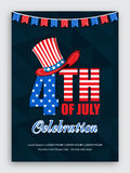 Pamphlet, Banner or Flyer for 4th of July. American Flag colors text 4th of July with stylish Hat on abstract background, Elegant Pamphlet, Banner or Flyer Royalty Free Stock Image