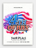Pamphlet, Banner or Flyer for 4th of July. Creative Pamphlet, Banner or Flyer design with stylish text 4th of July on flag decorated background for American Royalty Free Stock Image