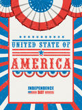 Pamphlet, Banner or Flyer for 4th of July. Creative vintage Pamphlet, Banner or Flyer design in American Flag colors with stylish text United State of America royalty free illustration