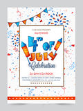 Pamphlet, Banner or Flyer for 4th of July. Stock Image
