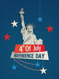 Pamphlet, Banner or Flyer for 4th of July. Pamphlet, Banner or Flyer design with Statue of Liberty and American Flag colors hanging stars for 4th of July Stock Photography