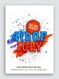 Pamphlet, Banner or Flyer for 4th of July. Stock Photo