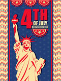 Pamphlet, Banner or Flyer for 4th of July. Vintage Pamphlet, Banner or Flyer design with Statue of Liberty on stars decorated background for 4th of July Royalty Free Stock Photos
