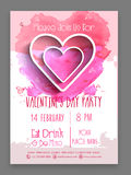 Pamphlet, Banner or Flyer for Valentine's Day Party. Stock Image