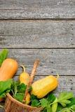 Pampkin e zucchini con le foglie verdi sulla tavola di legno d'annata Fondo del raccolto di autunno Immagine Stock