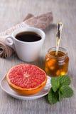 Pamplemousse cuit au four avec du miel Images libres de droits