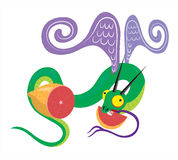Pamplemousse et serpent affamé. Image libre de droits