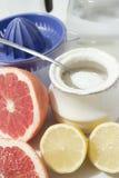 Pamplemousses et citrons avec du sucre Photographie stock