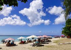 Beautiful beach at sunny day in Mauritius royalty free stock photography