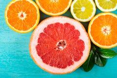Pamplemousses, oranges et citron coupés en tranches Image libre de droits