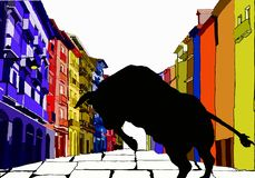 Pamplona and the bull in the running royalty free illustration