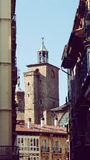 Pamplona Church Tower Old Town Europe Spain. Pamplona Navarra Town San Saturnino Tower Spain Architecture detail Royalty Free Stock Image