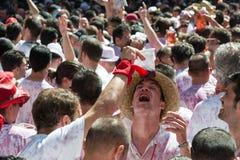 Pamplona-Fiesta, die mit Stieren San Fermin läuft Stockbild