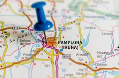 Pamplona on map royalty free stock images