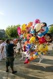 Pamplona Navarra España fiesta del 11 de julio de 2015 S Firmino un vendedor Foto de archivo