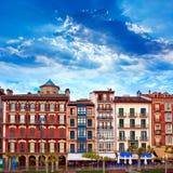 Pamplona Navarra Hiszpania placu Del Castillo kwadrat Obraz Royalty Free