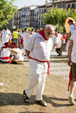 Pamplona Navarra la Spagna festa dell'11 luglio 2015 S Firmino un uomo anziano Fotografie Stock Libere da Diritti