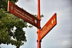 Signs Camino de Santiago, Navarre of Spain Stock Image