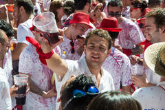 Pamplona San Fermin running with bulls Stock Photos