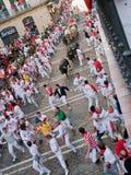 PAMPLONA, SPAIN -JULY 8: Bulls Run Down The Street Royalty Free Stock Photography