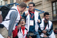 PAMPLONA, SPAIN -JULY 8: Photojournalists at the f Stock Photos