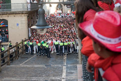 PAMPLONA, SPAIN -JULY 8: Before the runs, the bull Royalty Free Stock Photography