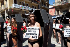PAMPLONA, SPAIN - JULY 5: People protesting against cruelty to a Royalty Free Stock Photo