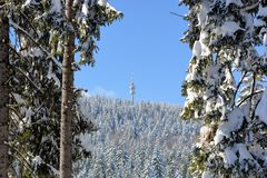 PAMPOROVO,保加利亚- 2015年3月11日:与滑雪电缆车和滑雪轨道的冬天手段和Snejanka耸立 免版税库存图片