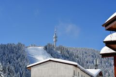 PAMPOROVO,保加利亚- 2015年3月11日:与滑雪电缆车和滑雪轨道的冬天手段和Snejanka耸立 免版税库存照片