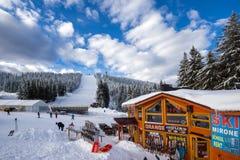 Snezhanka peak and Ski resort Pamporovo in Rhodope Mountains, Smolyan Region, Bulgaria. PAMPOROVO, BULGARIA - JANUARY 20, 2013: Snezhanka peak and Ski resort Royalty Free Stock Image