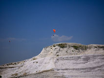 Pamukale, Turkey - May 14, 2017: Landscape of pamukkale mountain Stock Photos