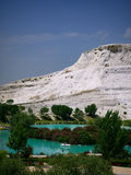 Pamukale, Turkey - May 14, 2017: Landscape of pamukkale mountain Royalty Free Stock Photography