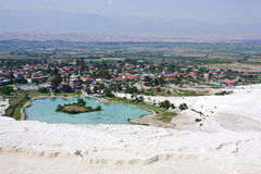 Pamukkale, Турция, взгляд сверху стоковое фото rf