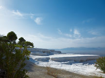 Pamukkale. A natural site in Turkey. Hot springs and travertines. Terraces of carbonate minerals Stock Photo
